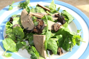 lamb's liver salad with pickled walnuts