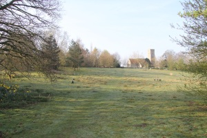 meadow with church in the background