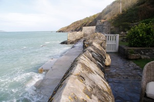 Looking left from the cottage at high tide
