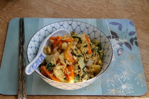 Egg-fried rice with chard and carrot