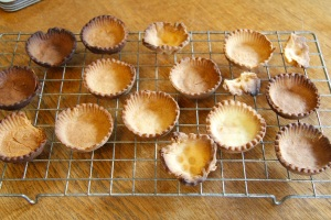 tart cases - as you can see one side of my oven is hotter than the other!