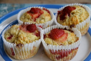strawberry and rhubarb muffins
