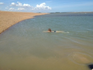 Me swimming in the lagoon at Shingle Street that only appears at low tide