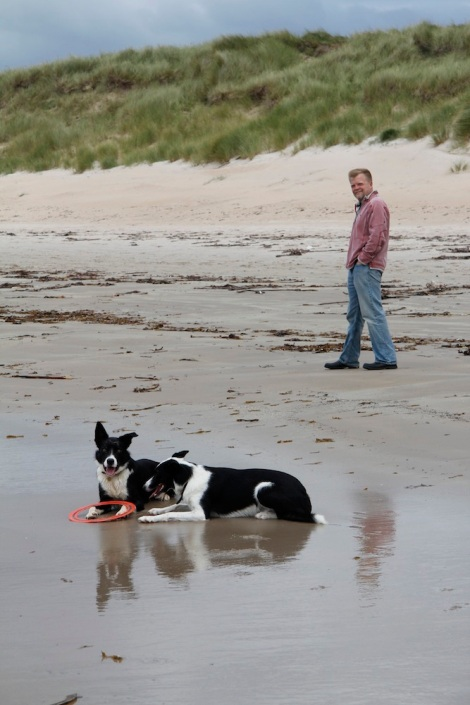 James and dogs on Laggan beach