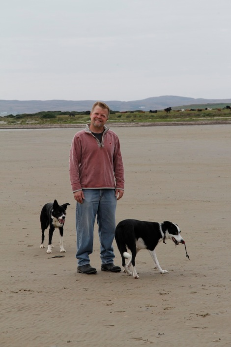 James and Dogs on Machir Bay