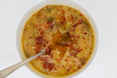 celery soup with lemon oil and chilli flakes