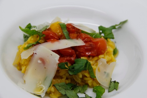 saffron risotto with honey roast tomatoes