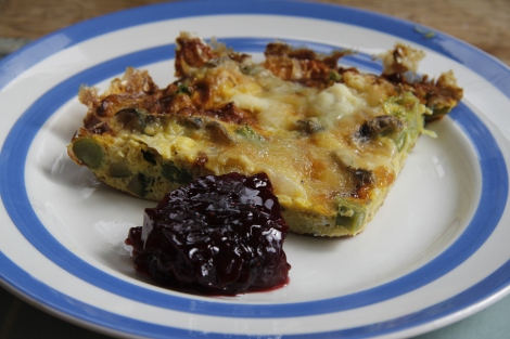 frittata and lingonberry compote
