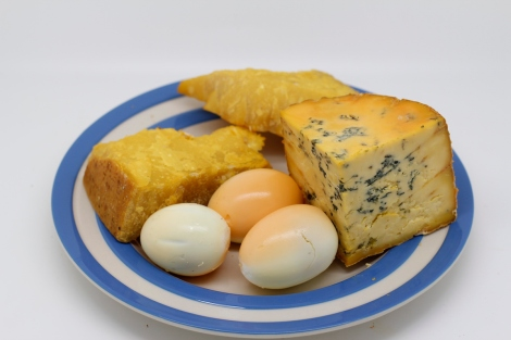 smoked cheese and boiled eggs