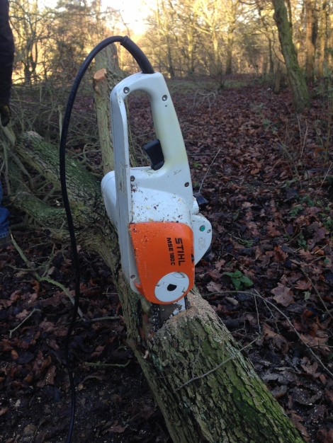 stuck chainsaw