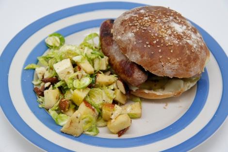 sausage bun and sprout salad