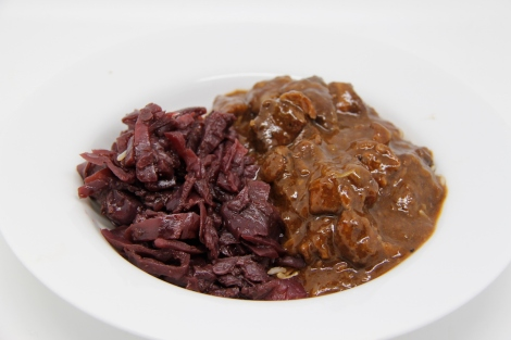 Slow cooked pork cheeks and red cabbage