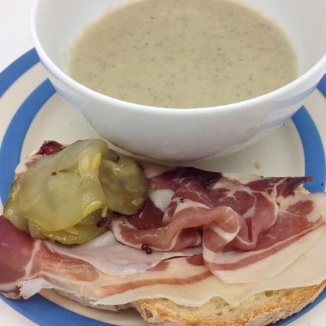 artichoke soup and open sandwich