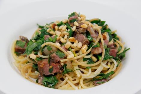 spaghetti, pancetta and parsley
