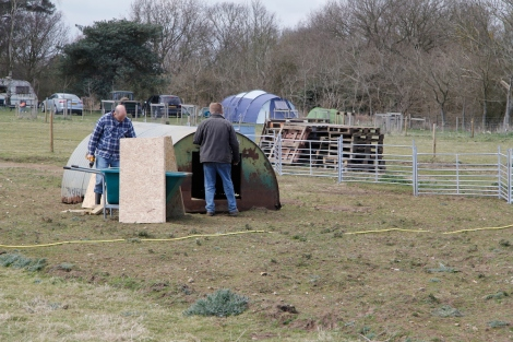 Building the pig shelter