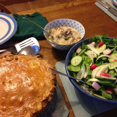 chicken and leek pie with salad