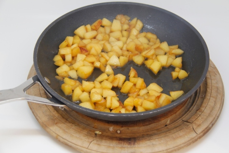 fried apple with a dash of cognac