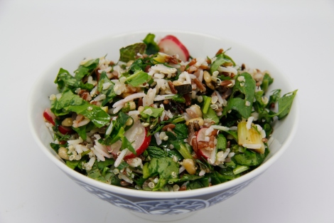 three rice salad with herbs