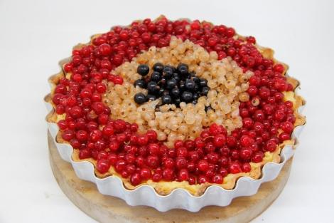 Tri-colour tart before baking