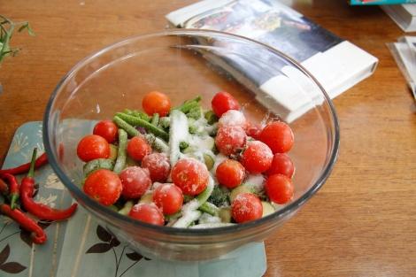 salting veggies