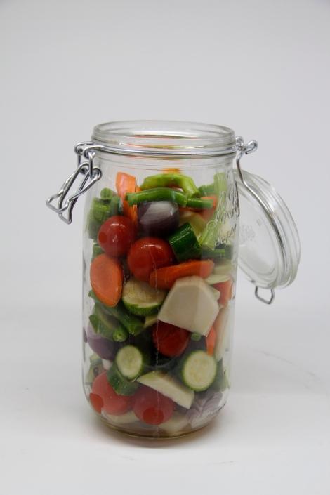 veggies in pickling jar