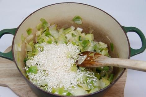 rice and leeks