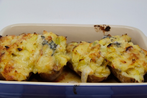 double baked potatoes with leeks and cheese