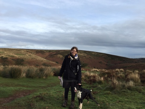 me and dog on hills