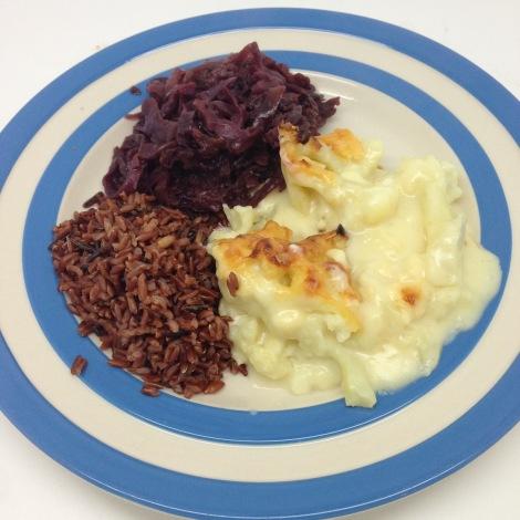 cauliflower cheese, red rice
