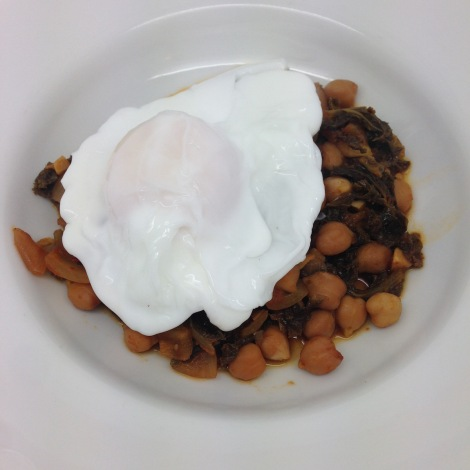chickpeas, kale and duck eggs