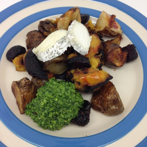 roast veggies and pesto