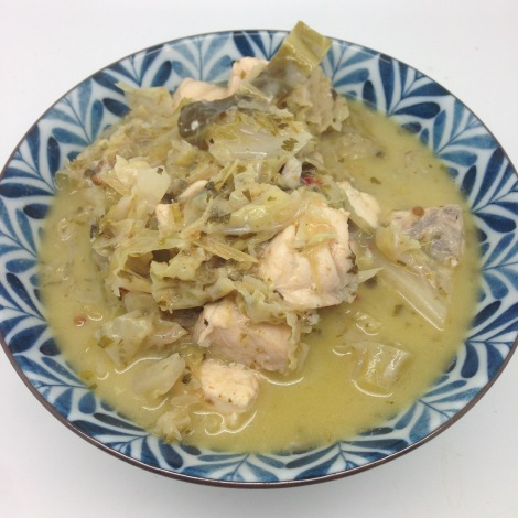 Salmon and cabbage thai curry